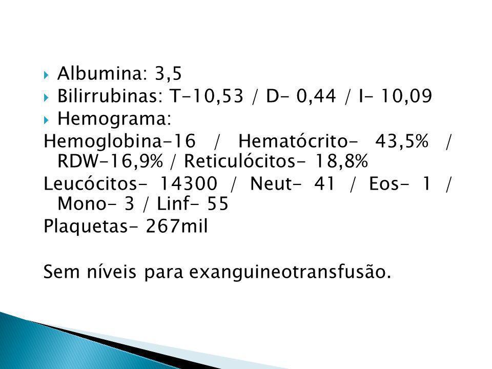 Albumina: 3,5 Bilirrubinas: T-10,53 / D- 0,44 / I- 10,09. Hemograma: Hemoglobina-16 / Hematócrito- 43,5% / RDW-16,9% / Reticulócitos- 18,8%