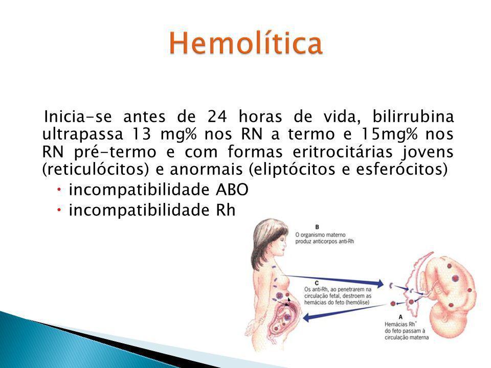 Inicia-se antes de 24 horas de vida, bilirrubina ultrapassa 13 mg% nos RN a termo e 15mg% nos RN pré-termo e com formas eritrocitárias jovens (reticulócitos) e anormais (eliptócitos e esferócitos)