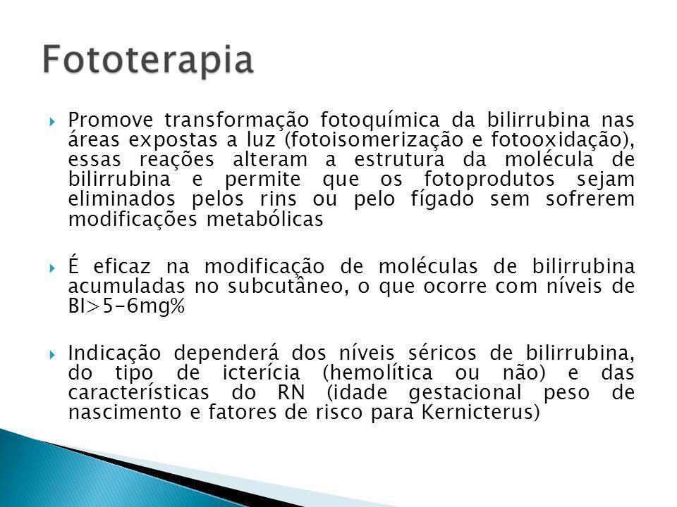 Promove transformação fotoquímica da bilirrubina nas áreas expostas a luz (fotoisomerização e fotooxidação), essas reações alteram a estrutura da molécula de bilirrubina e permite que os fotoprodutos sejam eliminados pelos rins ou pelo fígado sem sofrerem modificações metabólicas