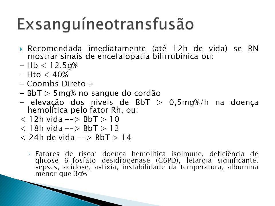 - BbT > 5mg% no sangue do cordão