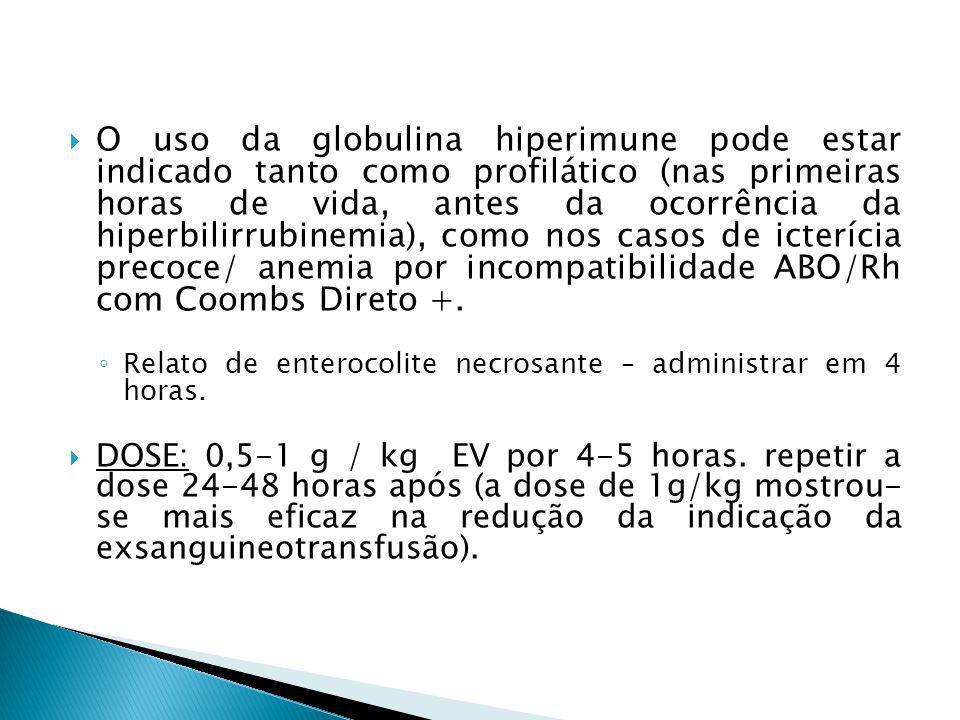 O uso da globulina hiperimune pode estar indicado tanto como profilático (nas primeiras horas de vida, antes da ocorrência da hiperbilirrubinemia), como nos casos de icterícia precoce/ anemia por incompatibilidade ABO/Rh com Coombs Direto +.