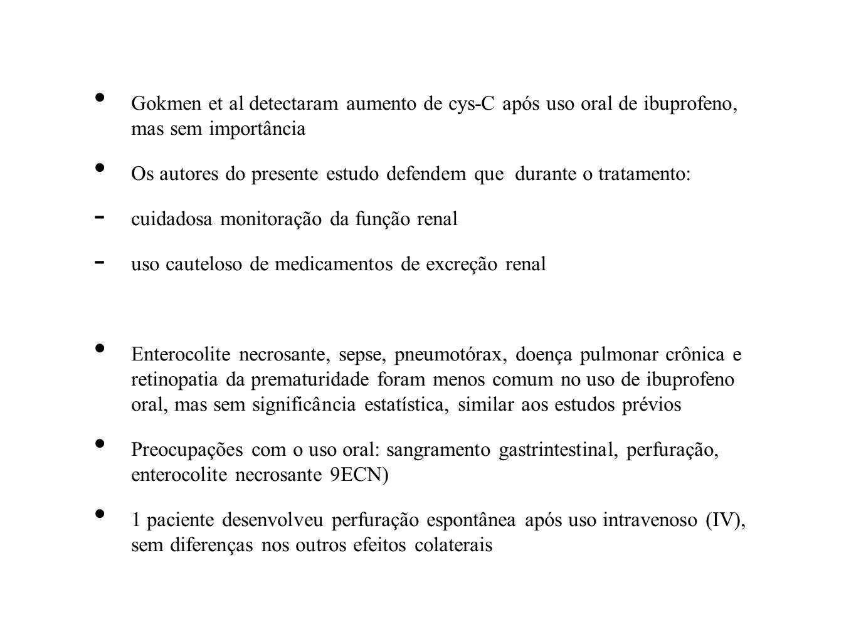 Gokmen et al detectaram aumento de cys-C após uso oral de ibuprofeno, mas sem importância