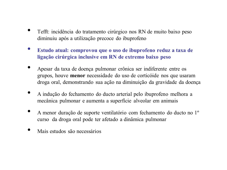 Tefft: incidência do tratamento cirúrgico nos RN de muito baixo peso diminuiu após a utilização precoce do ibuprofeno