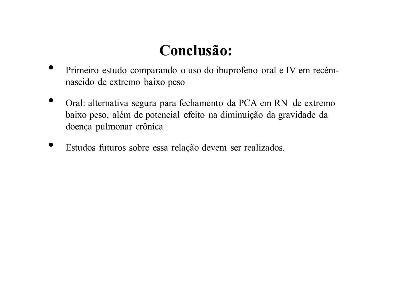 Conclusão: Primeiro estudo comparando o uso do ibuprofeno oral e IV em recém- nascido de extremo baixo peso.
