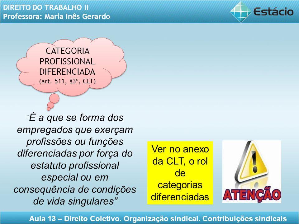 Ver no anexo da CLT, o rol de categorias diferenciadas