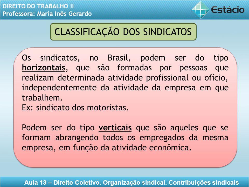 CLASSIFICAÇÃO DOS SINDICATOS