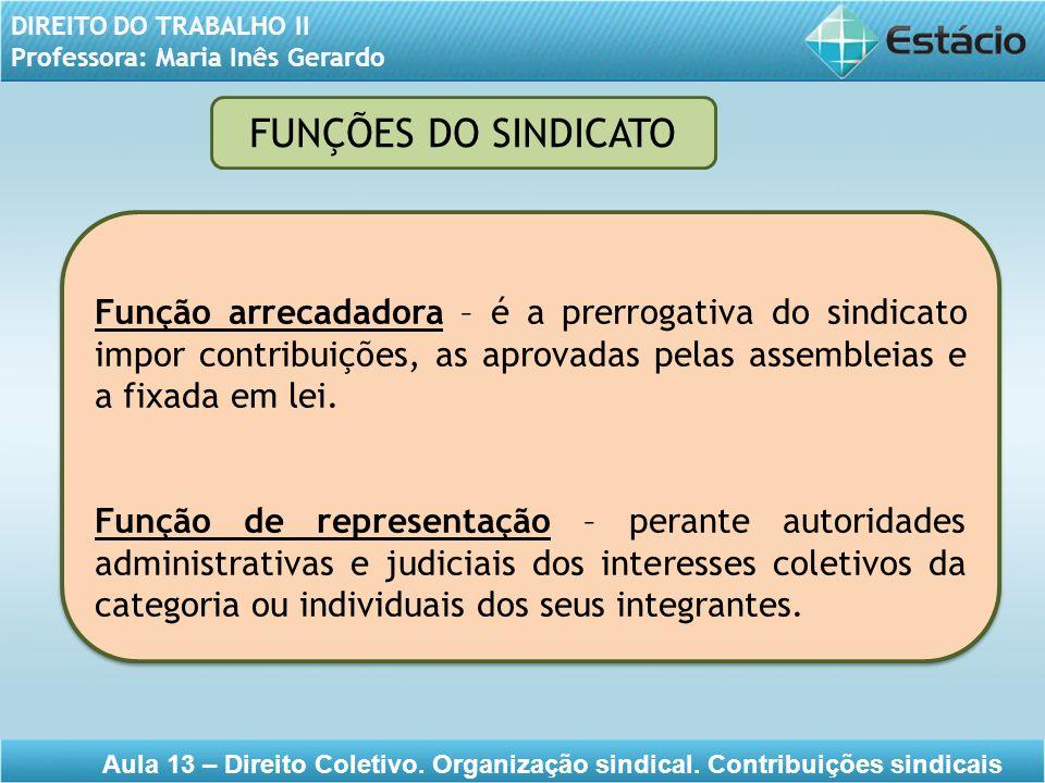 FUNÇÕES DO SINDICATO Função arrecadadora – é a prerrogativa do sindicato impor contribuições, as aprovadas pelas assembleias e a fixada em lei.