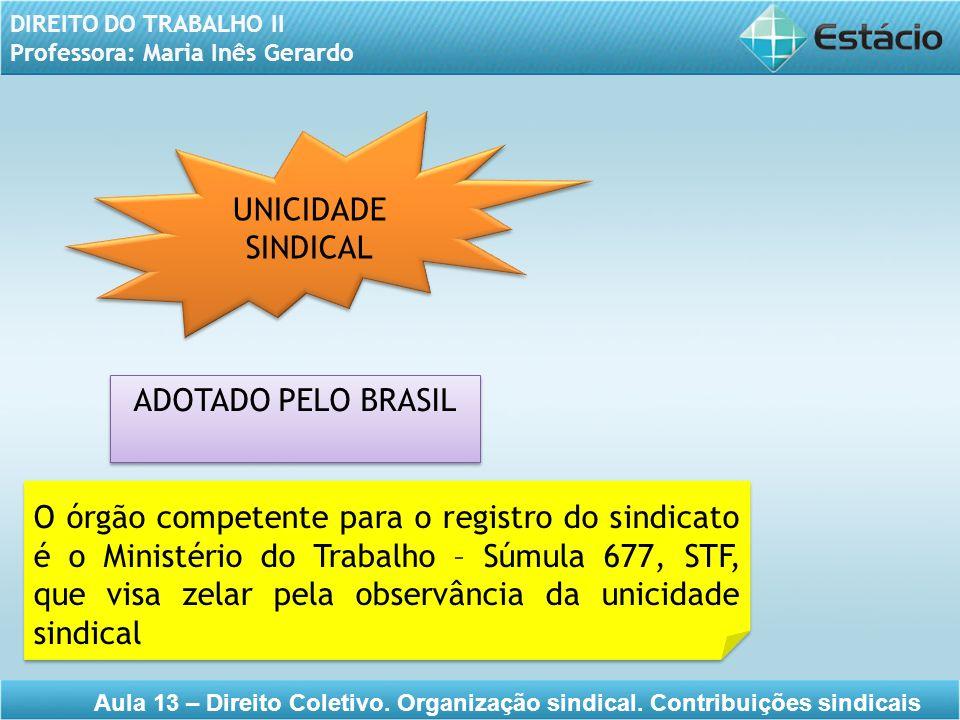 UNICIDADE SINDICAL ADOTADO PELO BRASIL.