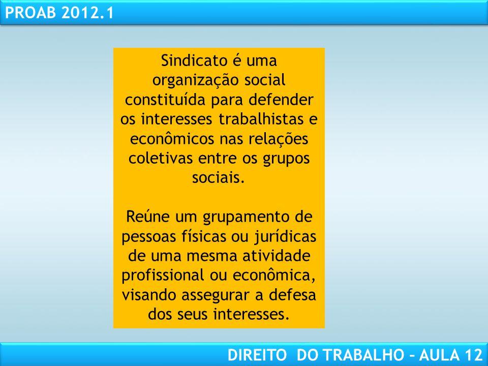 Sindicato é uma organização social constituída para defender os interesses trabalhistas e econômicos nas relações coletivas entre os grupos sociais.