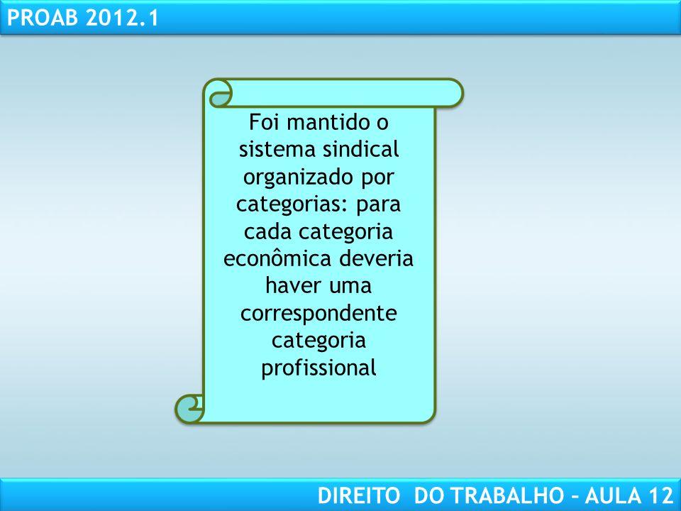 Foi mantido o sistema sindical organizado por categorias: para cada categoria econômica deveria haver uma correspondente categoria profissional