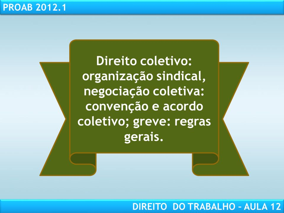 Direito coletivo: organização sindical, negociação coletiva: convenção e acordo coletivo; greve: regras gerais.