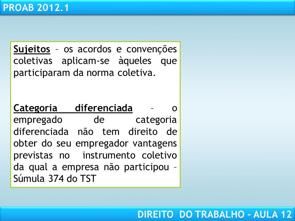 Sujeitos – os acordos e convenções coletivas aplicam-se àqueles que participaram da norma coletiva.