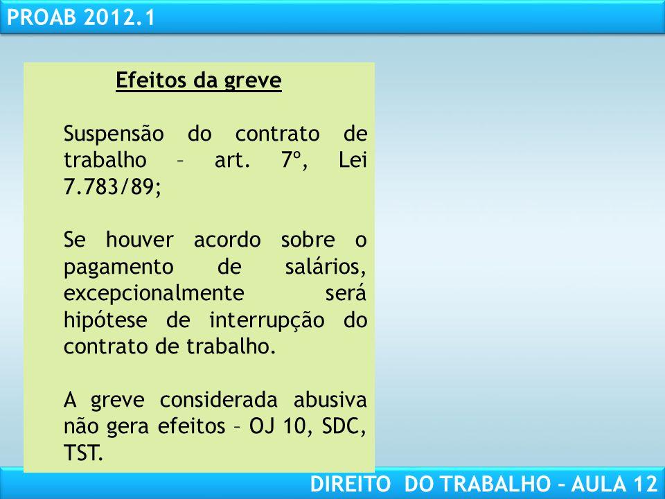 Efeitos da greve Suspensão do contrato de trabalho – art. 7º, Lei 7.783/89;