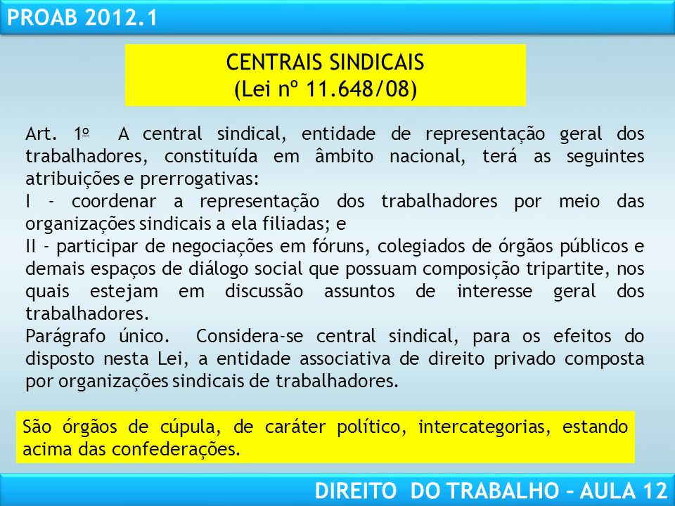 CENTRAIS SINDICAIS (Lei nº 11.648/08)