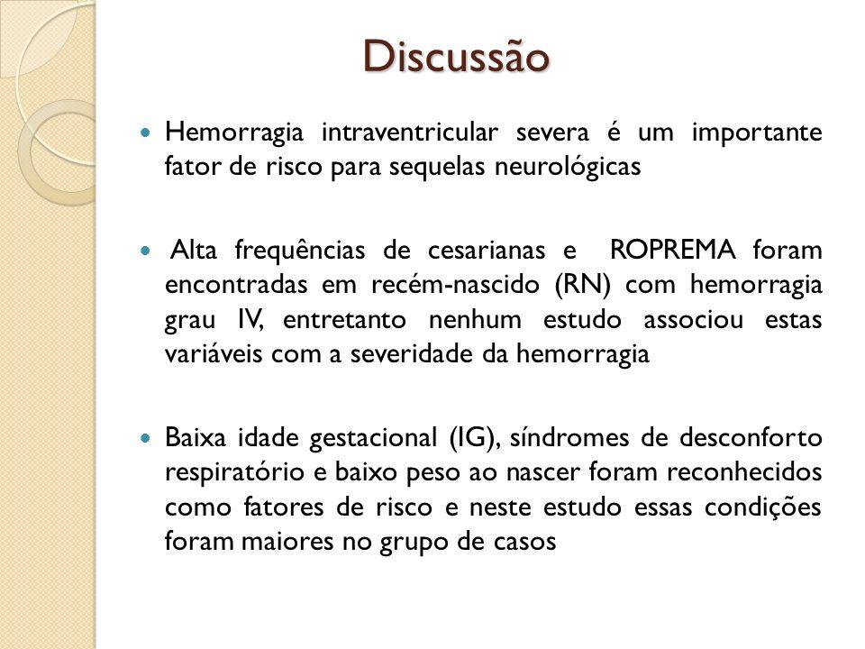 Discussão Hemorragia intraventricular severa é um importante fator de risco para sequelas neurológicas.