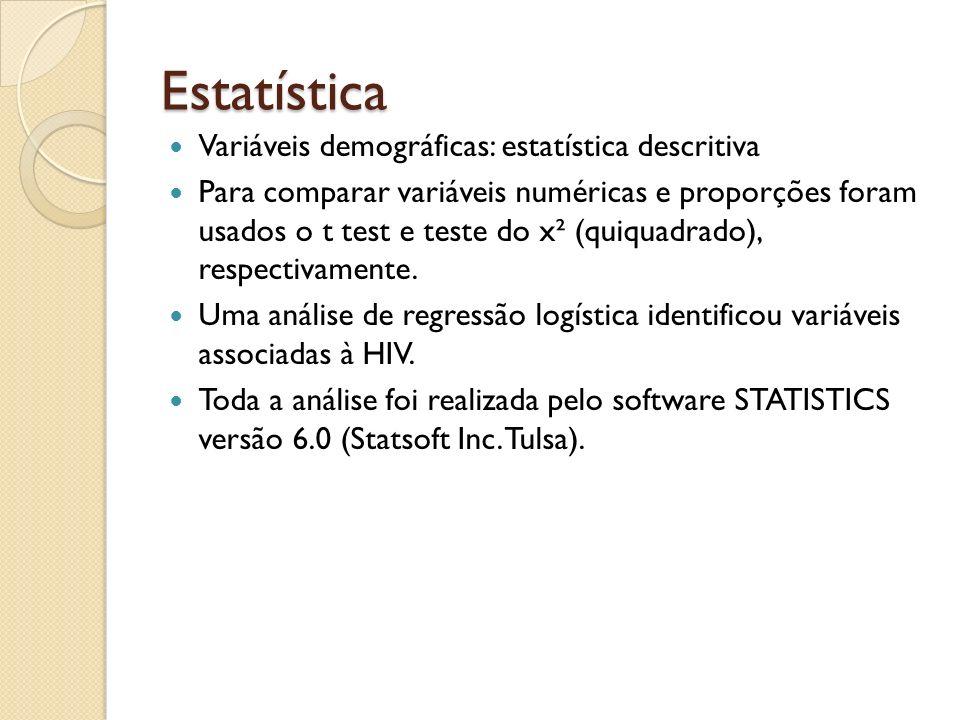 Estatística Variáveis demográficas: estatística descritiva