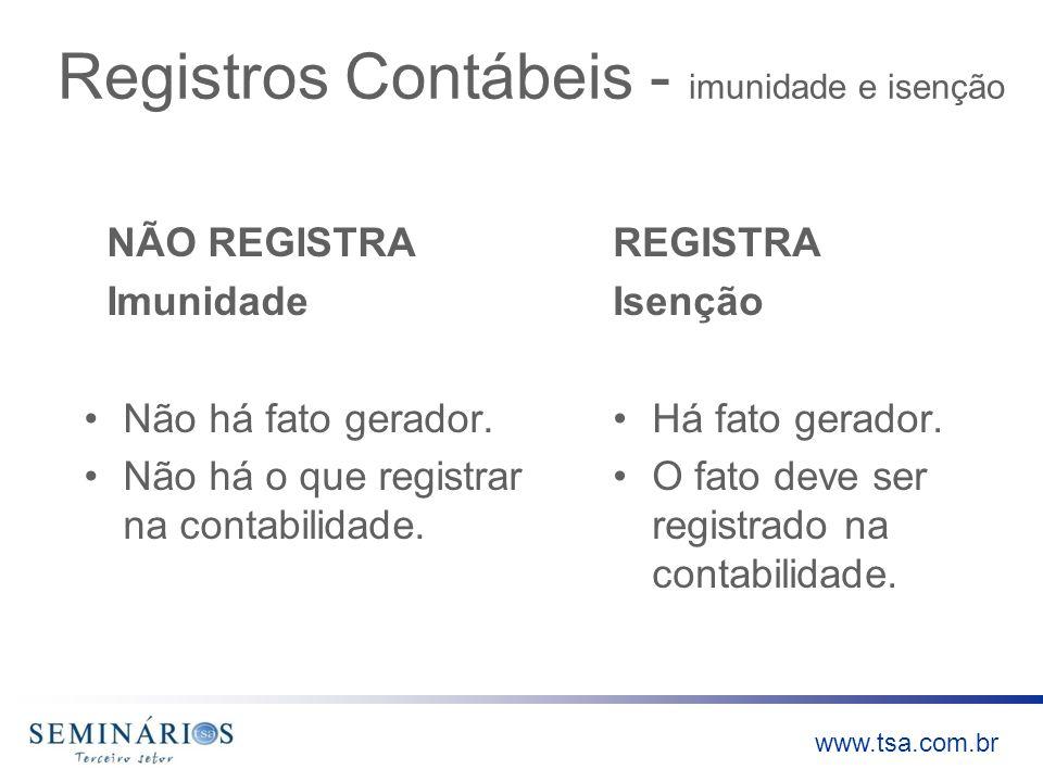 Registros Contábeis - imunidade e isenção