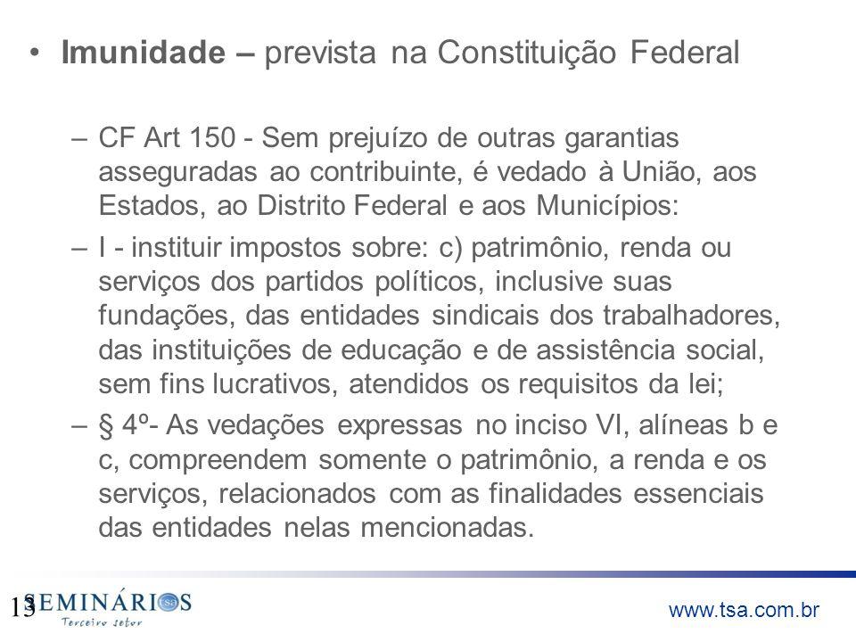 Imunidade – prevista na Constituição Federal