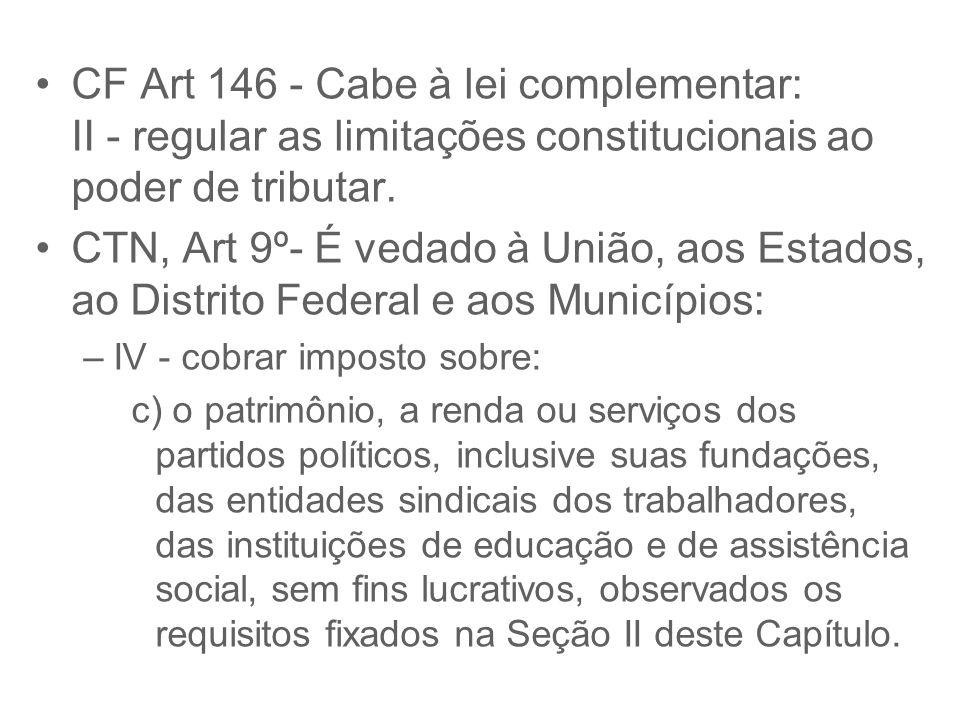 CF Art 146 - Cabe à lei complementar: II - regular as limitações constitucionais ao poder de tributar.