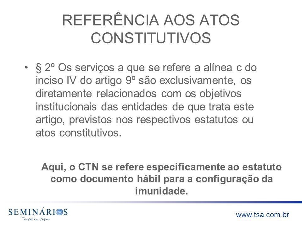 REFERÊNCIA AOS ATOS CONSTITUTIVOS