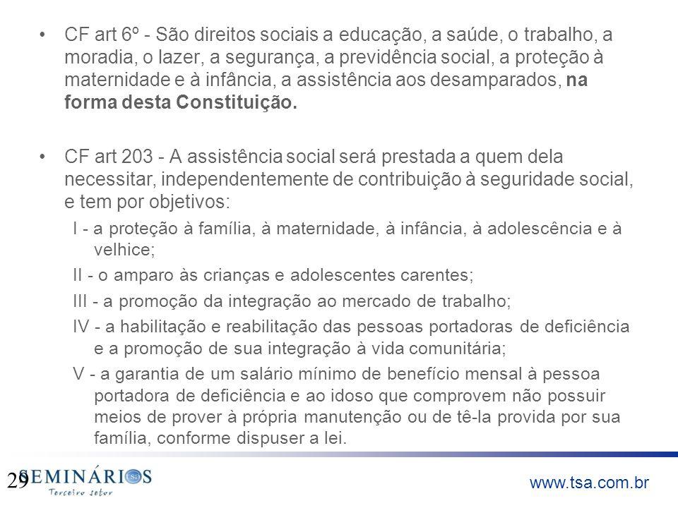 CF art 6º - São direitos sociais a educação, a saúde, o trabalho, a moradia, o lazer, a segurança, a previdência social, a proteção à maternidade e à infância, a assistência aos desamparados, na forma desta Constituição.