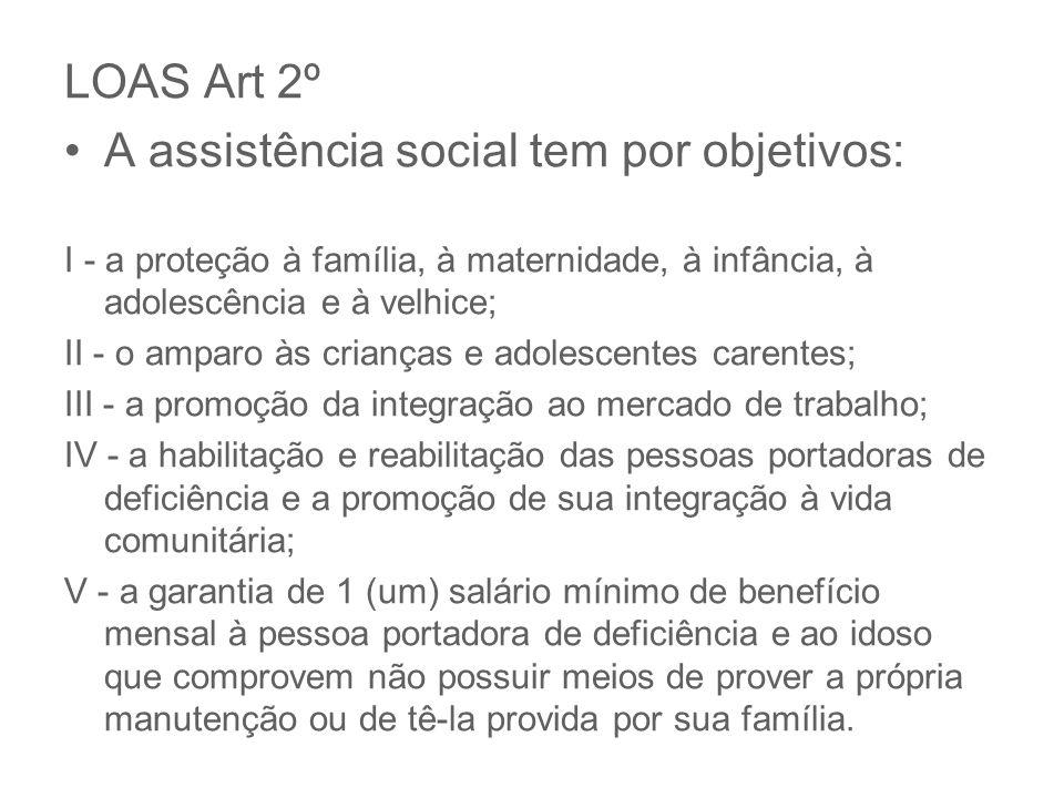 A assistência social tem por objetivos: