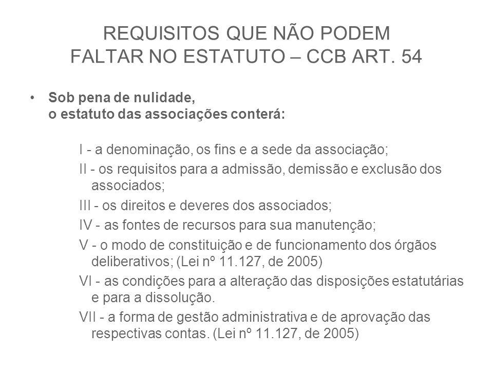 REQUISITOS QUE NÃO PODEM FALTAR NO ESTATUTO – CCB ART. 54