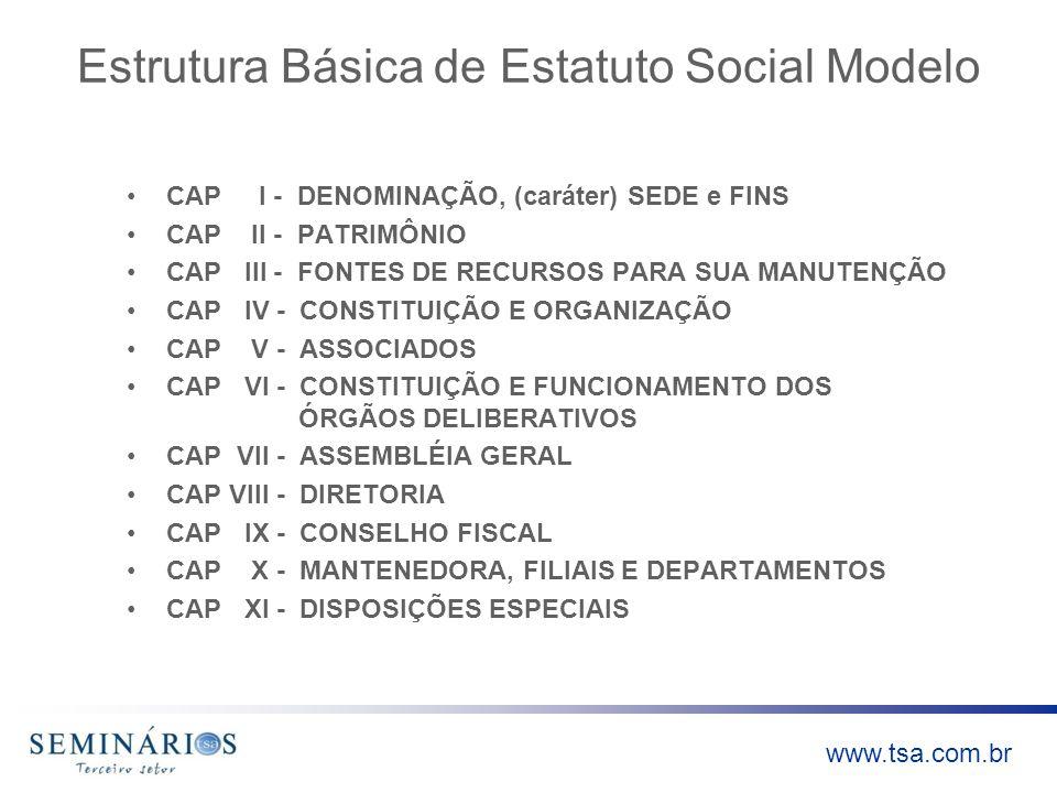 Estrutura Básica de Estatuto Social Modelo