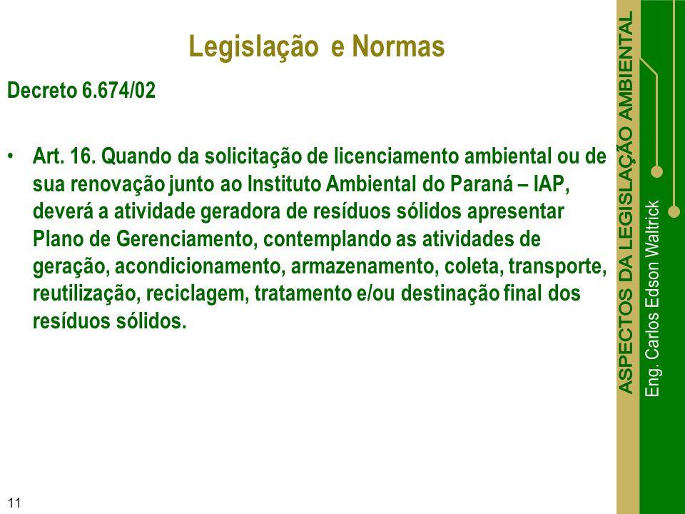 Legislação e Normas Decreto 6.674/02