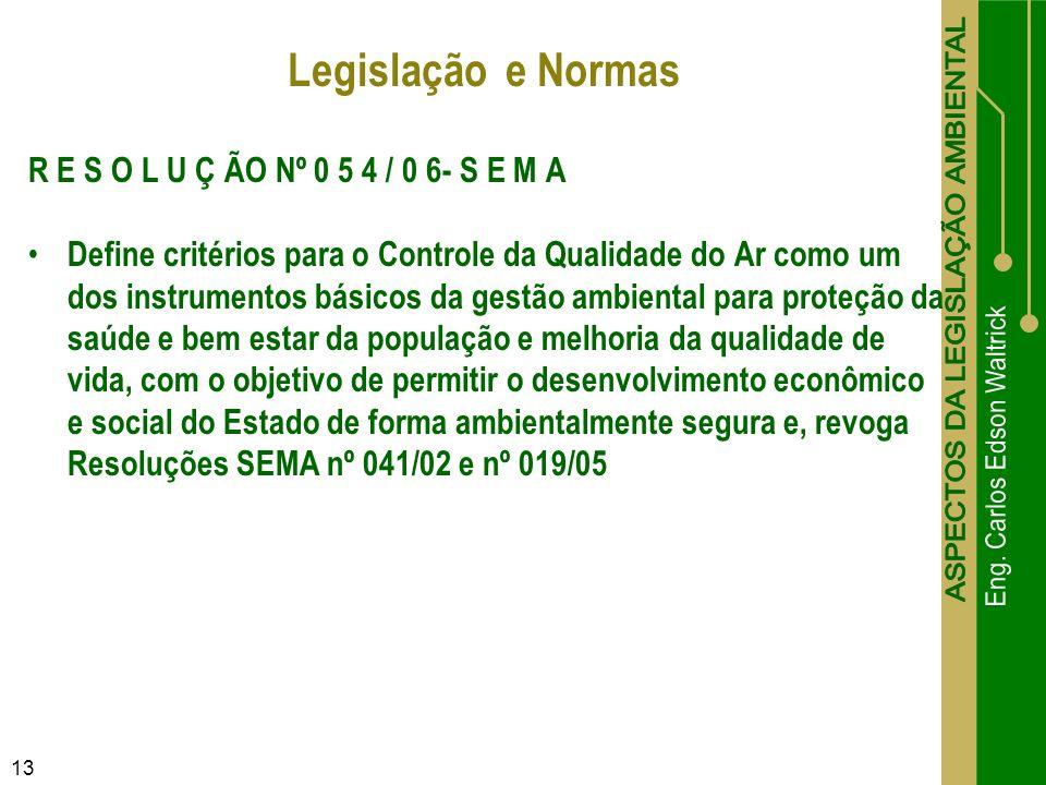 Legislação e Normas R E S O L U Ç ÃO Nº 0 5 4 / 0 6- S E M A