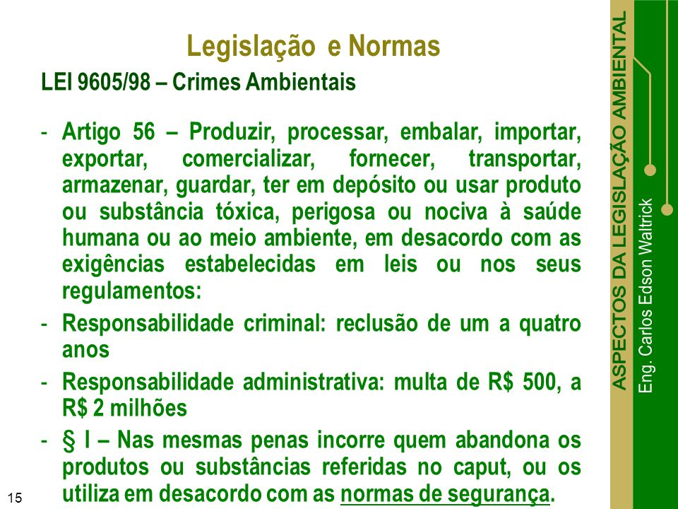 Legislação e Normas LEI 9605/98 – Crimes Ambientais