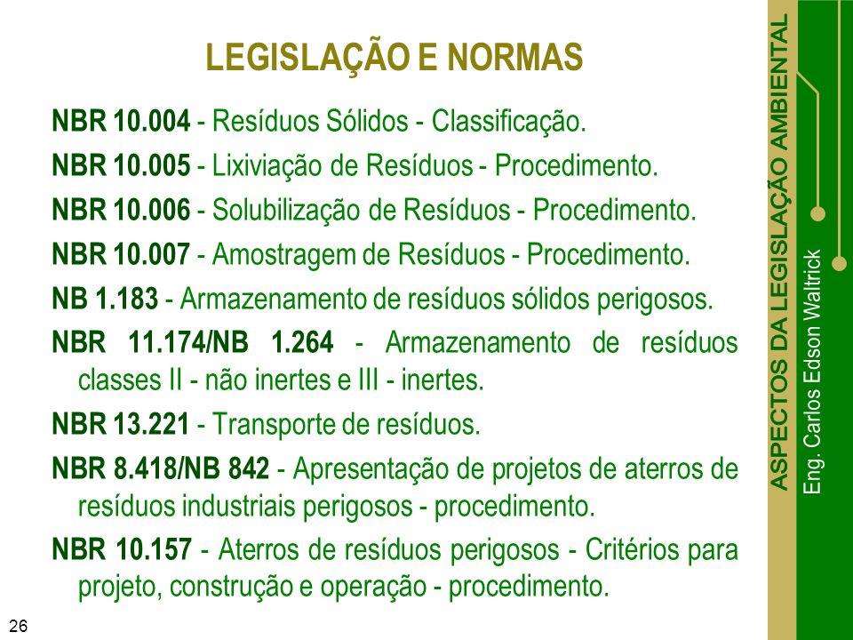 LEGISLAÇÃO E NORMAS NBR 10.004 - Resíduos Sólidos - Classificação.