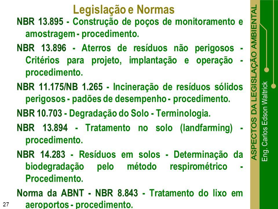 Legislação e Normas NBR 13.895 - Construção de poços de monitoramento e amostragem - procedimento.