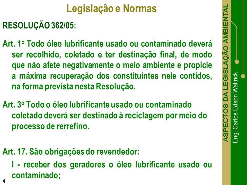 Legislação e Normas RESOLUÇÃO 362/05: