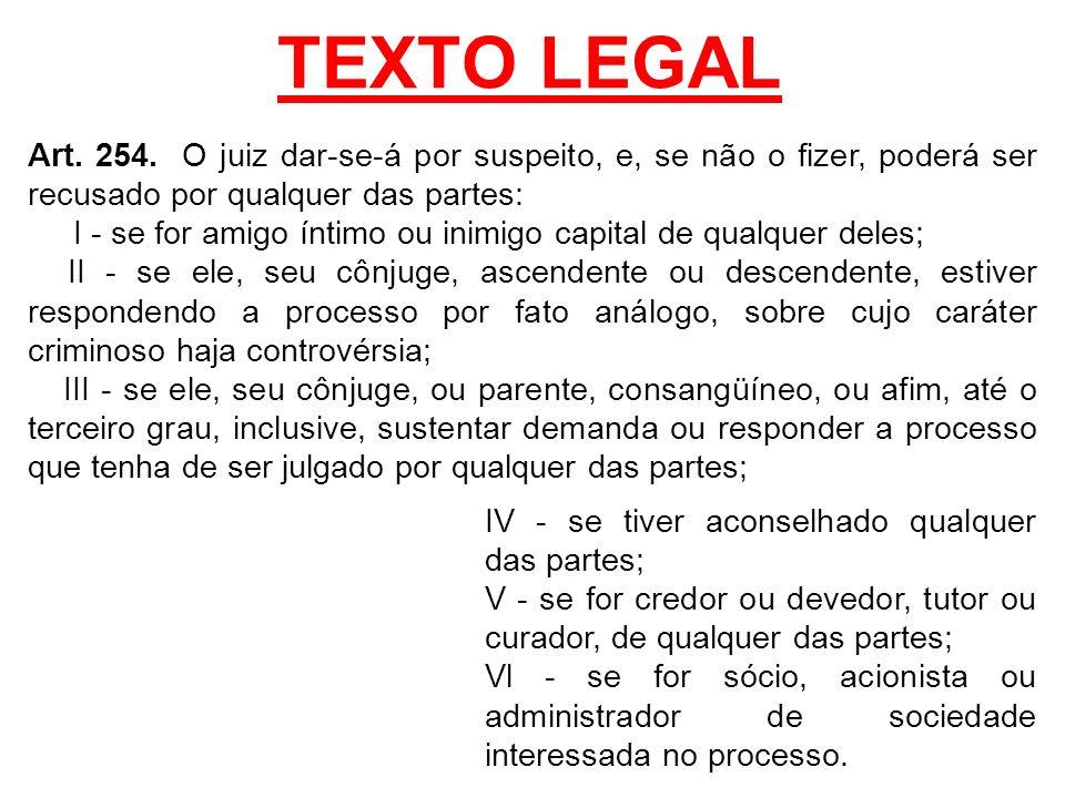 TEXTO LEGAL Art. 254. O juiz dar-se-á por suspeito, e, se não o fizer, poderá ser recusado por qualquer das partes: