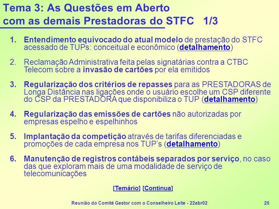 Tema 3: As Questões em Aberto com as demais Prestadoras do STFC 1/3