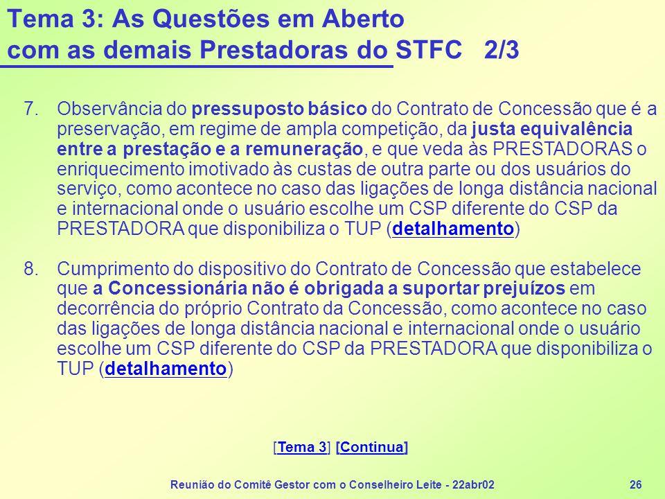 Tema 3: As Questões em Aberto com as demais Prestadoras do STFC 2/3