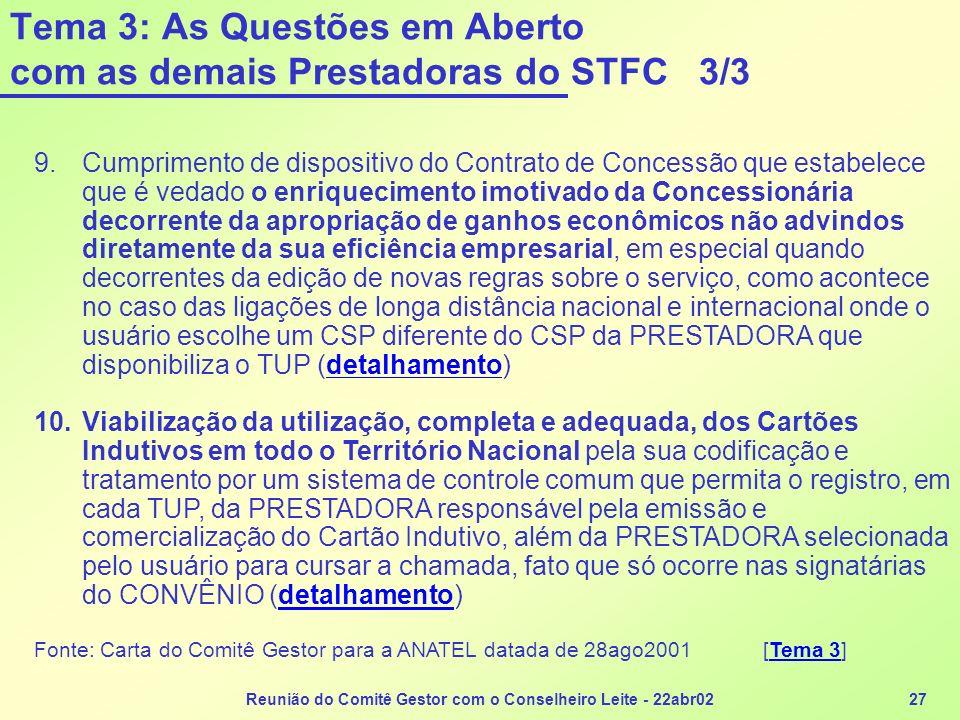 Tema 3: As Questões em Aberto com as demais Prestadoras do STFC 3/3
