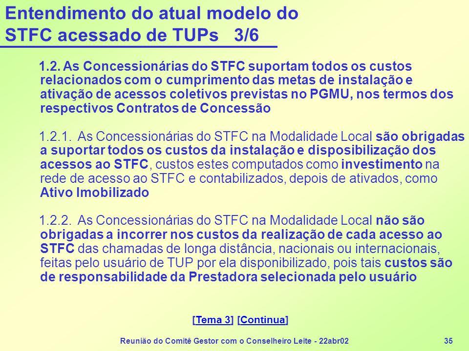 Entendimento do atual modelo do STFC acessado de TUPs 3/6