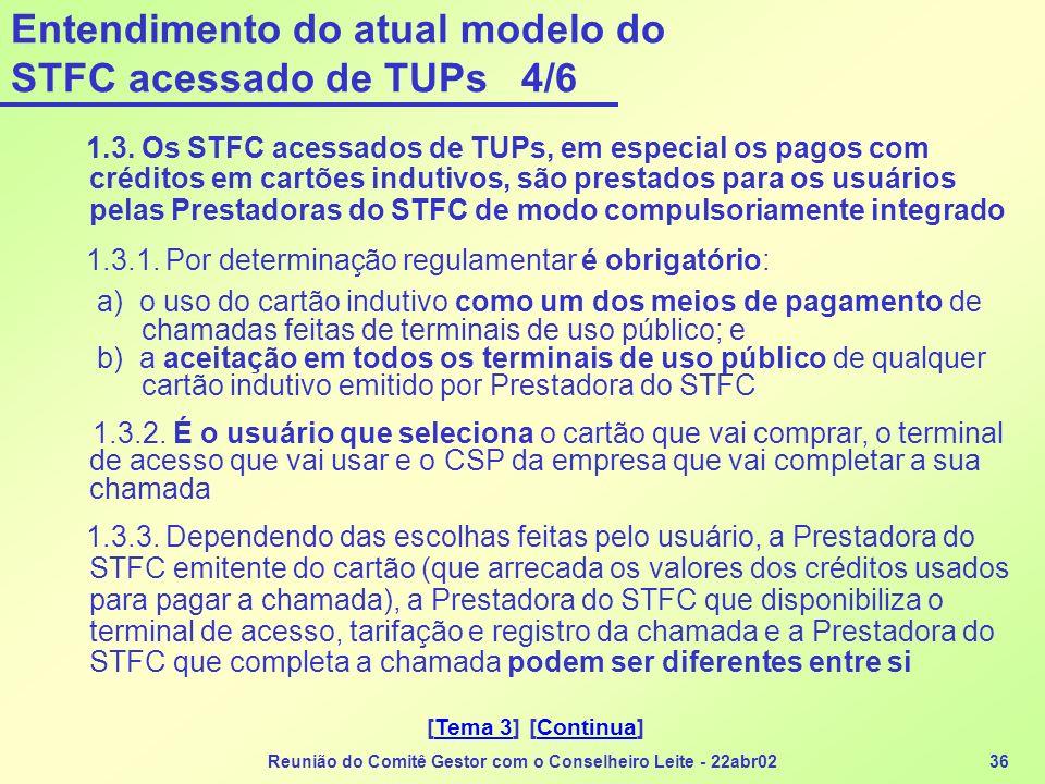 Entendimento do atual modelo do STFC acessado de TUPs 4/6