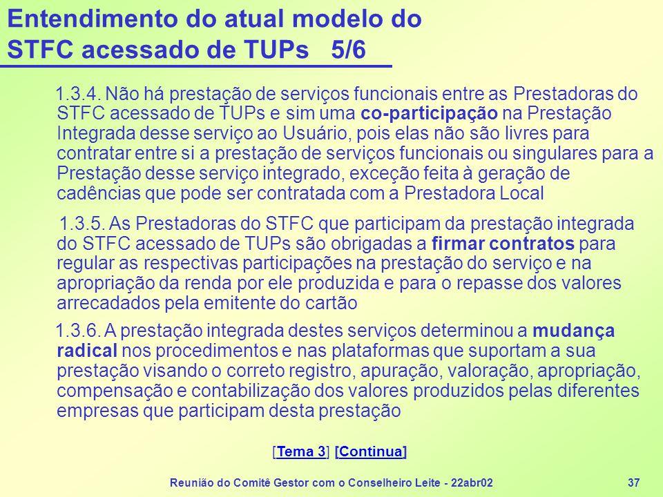 Entendimento do atual modelo do STFC acessado de TUPs 5/6