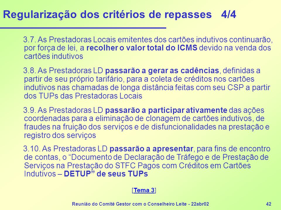 Regularização dos critérios de repasses 4/4