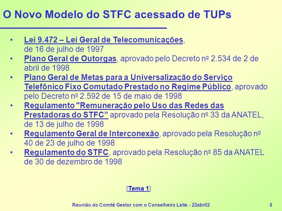O Novo Modelo do STFC acessado de TUPs