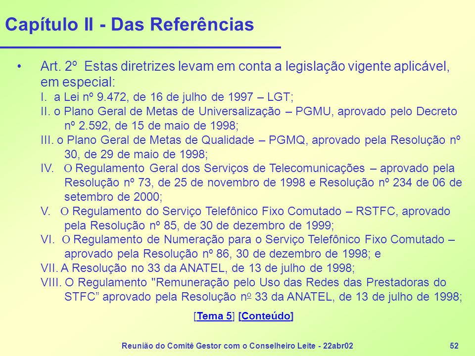 Capítulo II - Das Referências