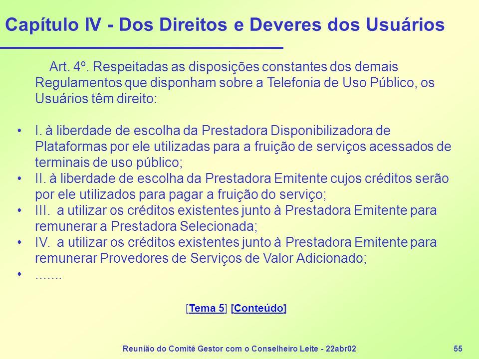 Capítulo IV - Dos Direitos e Deveres dos Usuários