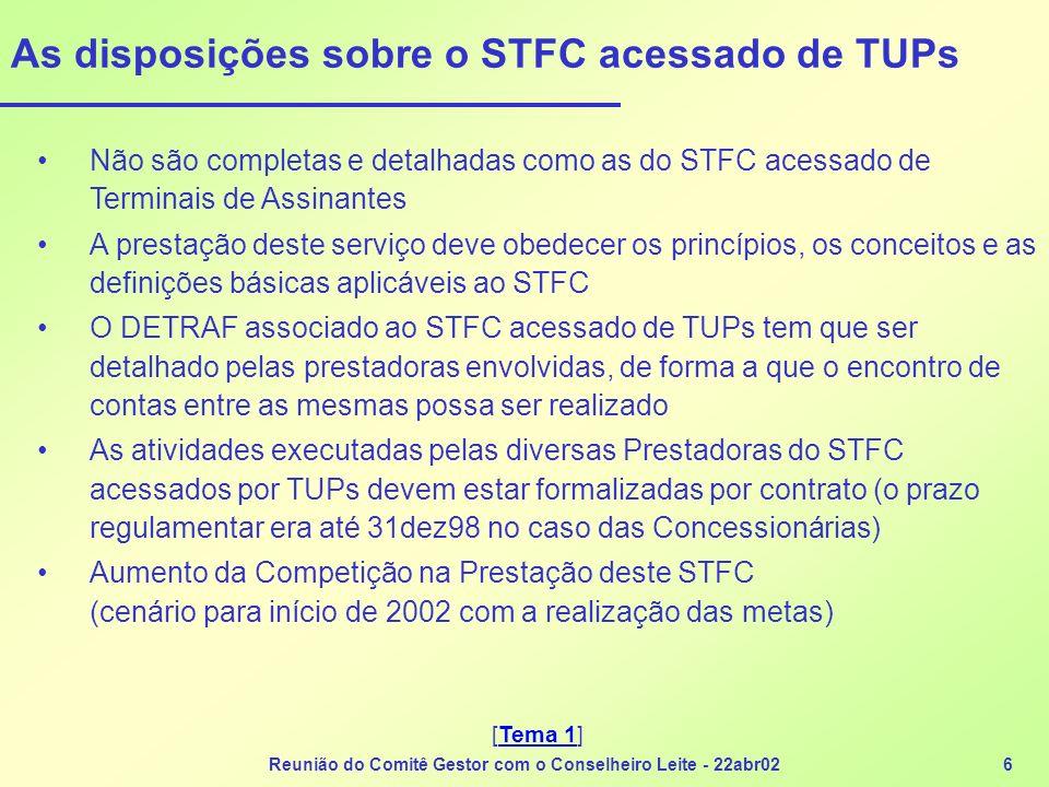 As disposições sobre o STFC acessado de TUPs