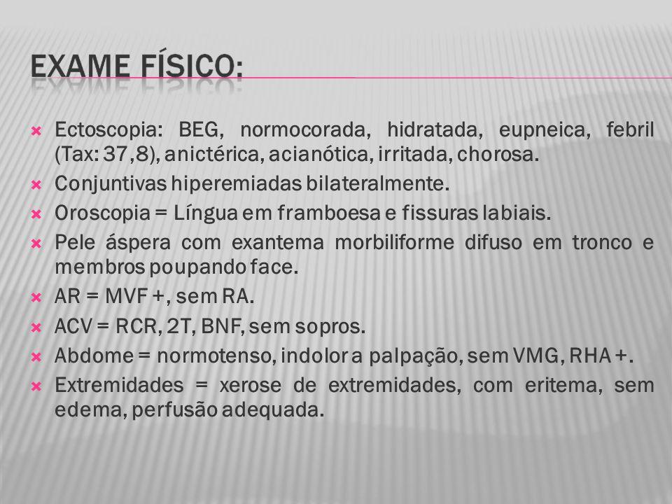 Ectoscopia: BEG, normocorada, hidratada, eupneica, febril (Tax: 37,8), anictérica, acianótica, irritada, chorosa.