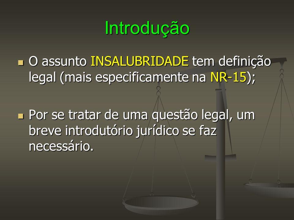 Introdução O assunto INSALUBRIDADE tem definição legal (mais especificamente na NR-15);