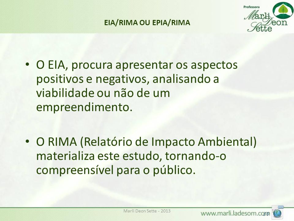 EIA/RIMA OU EPIA/RIMA O EIA, procura apresentar os aspectos positivos e negativos, analisando a viabilidade ou não de um empreendimento.