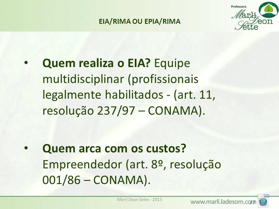 EIA/RIMA OU EPIA/RIMA Quem realiza o EIA Equipe multidisciplinar (profissionais legalmente habilitados - (art. 11, resolução 237/97 – CONAMA).